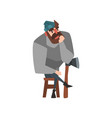 bearded man sitting on wooden chair leaning on ax vector image vector image