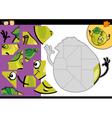 cartoon apple jigsaw puzzle game vector image