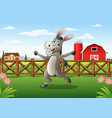 cartoon donkey in the farm background vector image