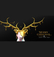 christmas new year 3d melted gold low poly deer vector image vector image