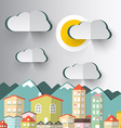 City Mountains with Paper Cut Clouds and Sun vector image vector image