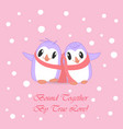 couple of cute penguins bound with pink scarf vector image