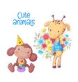 cute cartoon animals monkey and giraffe hand vector image