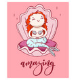 cute cartoon mermaid with handwritten lettering vector image vector image