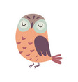 cute owlet adorable owl bird with closed eyes vector image vector image