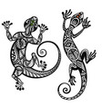 decorative lizard set vector image vector image