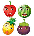 different fruits with facial emotions vector image vector image