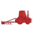 farm tractor with rake vector image vector image