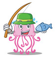 fishing cute jellyfish character cartoon vector image