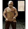 formidable man with glasses and with an ax and vector image vector image
