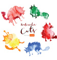 Funny watercolor cats vector image vector image