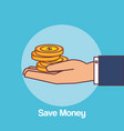 hand with coins money vector image