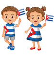 happy boy and girl holding flag of cuba vector image vector image