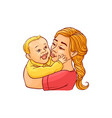 happy mother holding in arms and kissing her vector image vector image