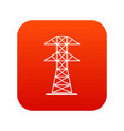 high voltage tower icon digital red vector image vector image