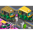 Isometric Indian Rickshaw in Front View vector image vector image