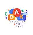 kids land club logo original creative label vector image vector image