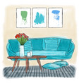 living room colored painting vector image vector image