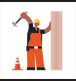 male builder using hammer busy african maerican vector image vector image