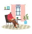 man sitting and talking smartphone making vector image vector image