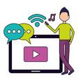 man tablet social media vector image vector image
