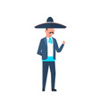 mexican guy in traditional costume and sombrero vector image vector image