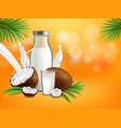 organic non dairy coconut milk poster vector image vector image
