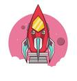 red rocket take off to space vector image