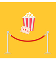 Red rope ticket popcorn Flat vector image vector image