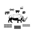 rhino africa silhouette ethnic pattern pattern vector image vector image
