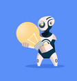 robot hold light bulb cyborg isolated on blue vector image vector image