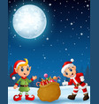 santa claus kid with cartoon elf present a sack fu vector image vector image