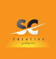 sc s c letter modern logo design with yellow vector image vector image