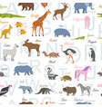 seamless pattern with zoo alphabet animal alphabet vector image