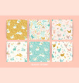 seamless patterns with bunnies and chicken vector image vector image