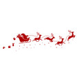 silhouette of santa on a sleigh flying with deer vector image
