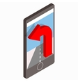 Smartphone with GPS navigator icon vector image