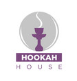 smoking hookah on emblem vector image vector image