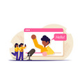 streaming video blogger on browser page vector image vector image