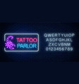 tattoo parlor glowing neon signboard with scorpio vector image