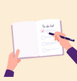 to do list concept hands on table writing memo vector image vector image