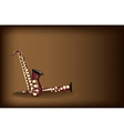 Two Retro Saxophone on Dark Brown Background vector image vector image