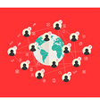 Flat design concept with world map and social vector image