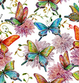 retro seamless texture with of flying butterflies vector image