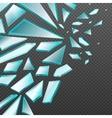Window with transparent broken glass shards vector image