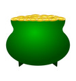 a pot of coins with the image of a clover on a vector image vector image
