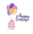 beautiful big cake flying on bunch balloons vector image