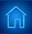 blue neon home sign vector image vector image