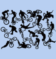bmxer silhouettes vector image vector image