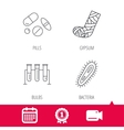 Broken foot bacteria and medical pills icons vector image vector image